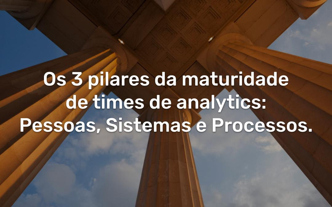 Os 3 pilares da maturidade de times de analytics: Pessoas, Sistemas e Processos.